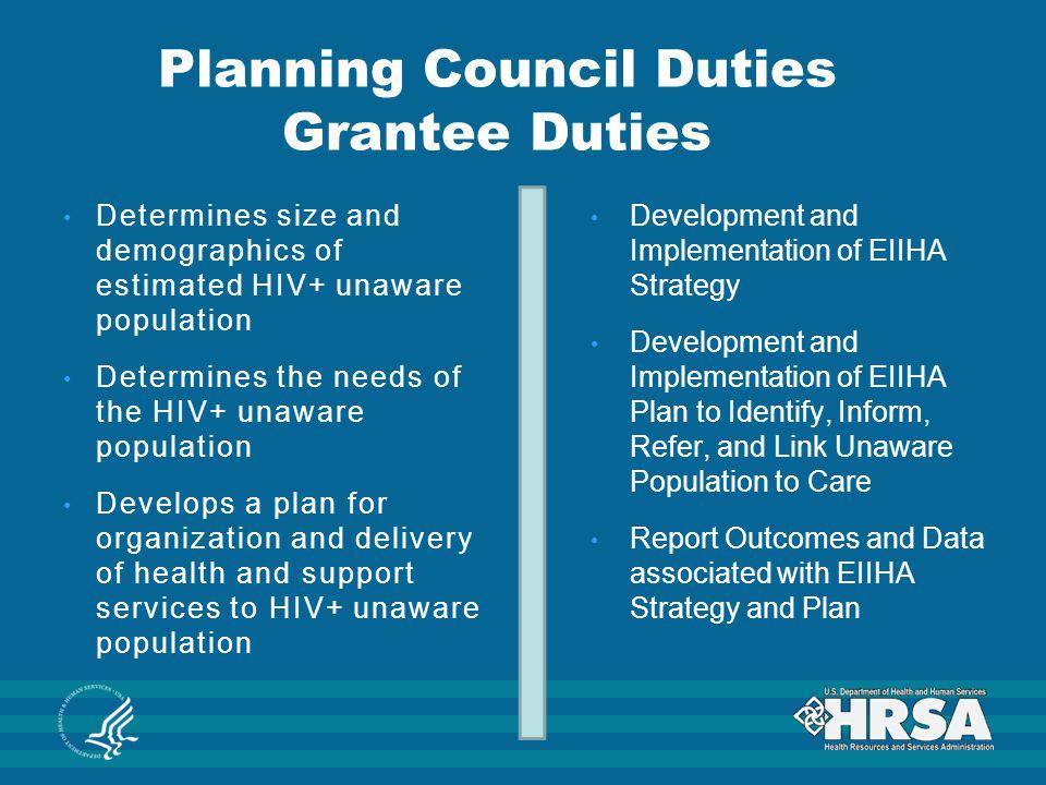 Planning Council Duties Grantee Duties