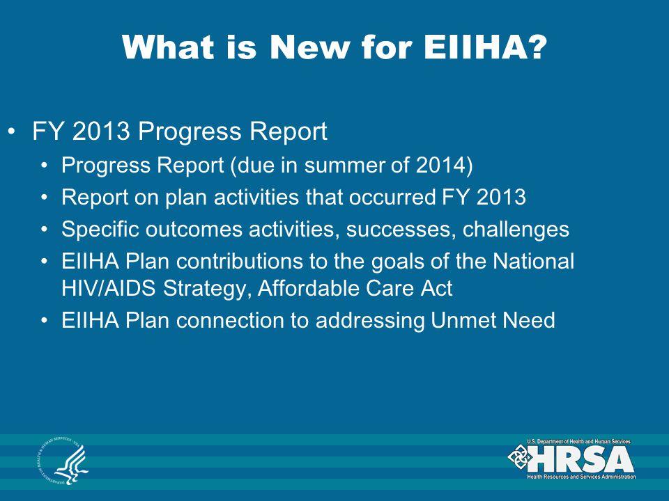 What is New for EIIHA FY 2013 Progress Report