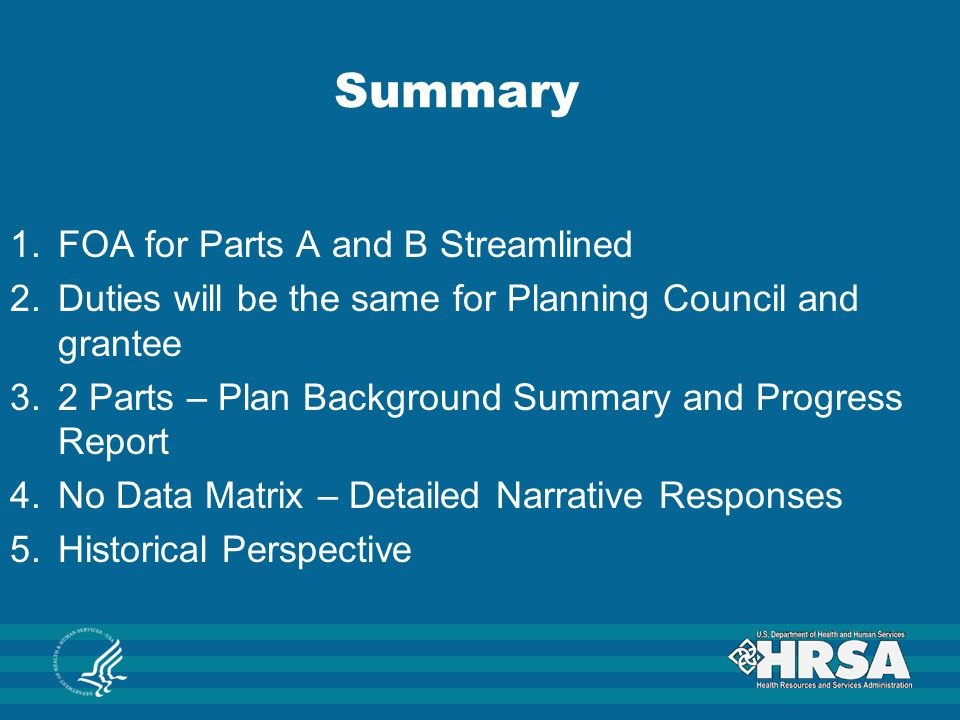 Summary FOA for Parts A and B Streamlined