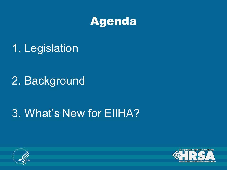 Agenda 1. Legislation 2. Background 3. What's New for EIIHA