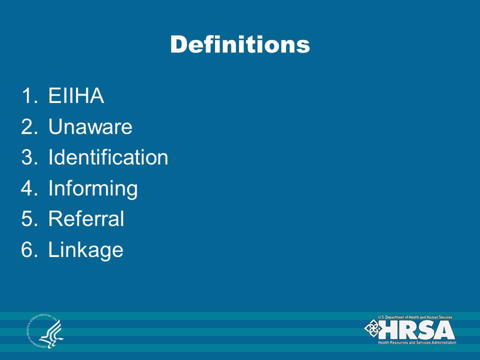 Definitions EIIHA Unaware Identification Informing Referral Linkage
