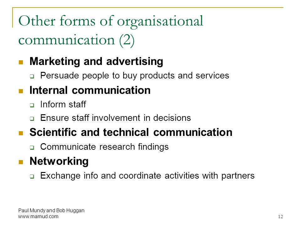Other forms of organisational communication (2)