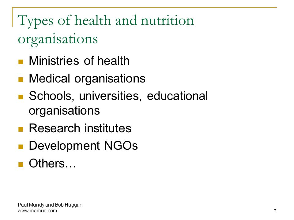 Types of health and nutrition organisations
