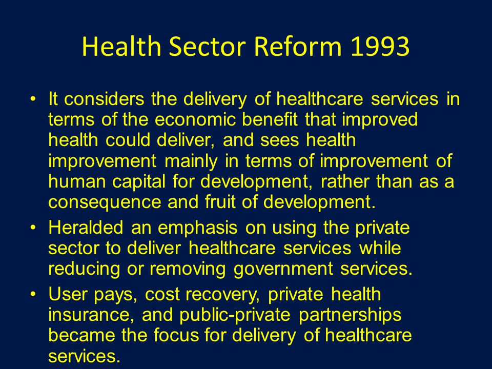 Health Sector Reform 1993