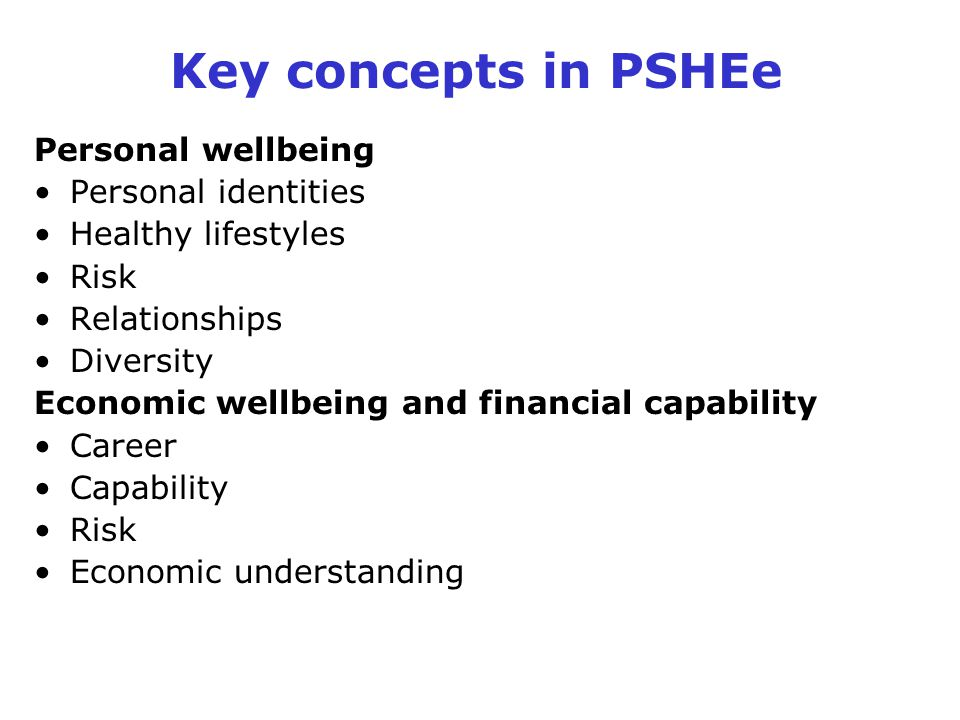 Key concepts in PSHEe Personal wellbeing Personal identities
