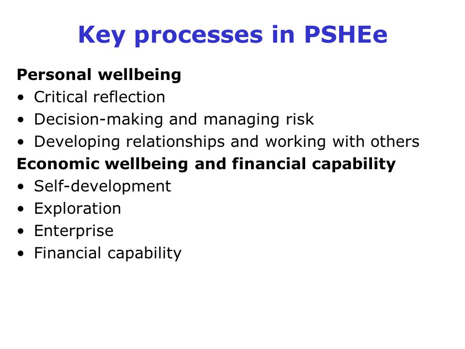 Key processes in PSHEe Personal wellbeing Critical reflection