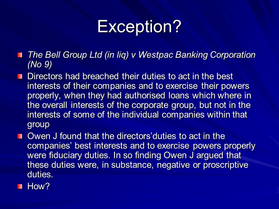 Exception The Bell Group Ltd (in liq) v Westpac Banking Corporation (No 9)