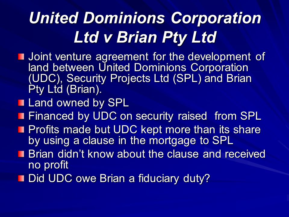 United Dominions Corporation Ltd v Brian Pty Ltd