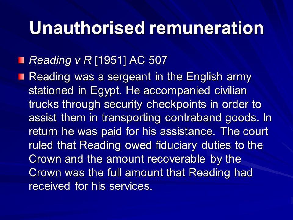 Unauthorised remuneration