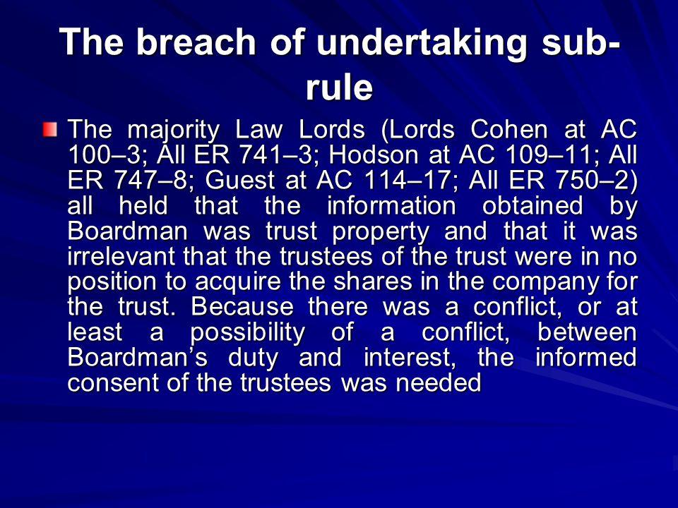 The breach of undertaking sub-rule