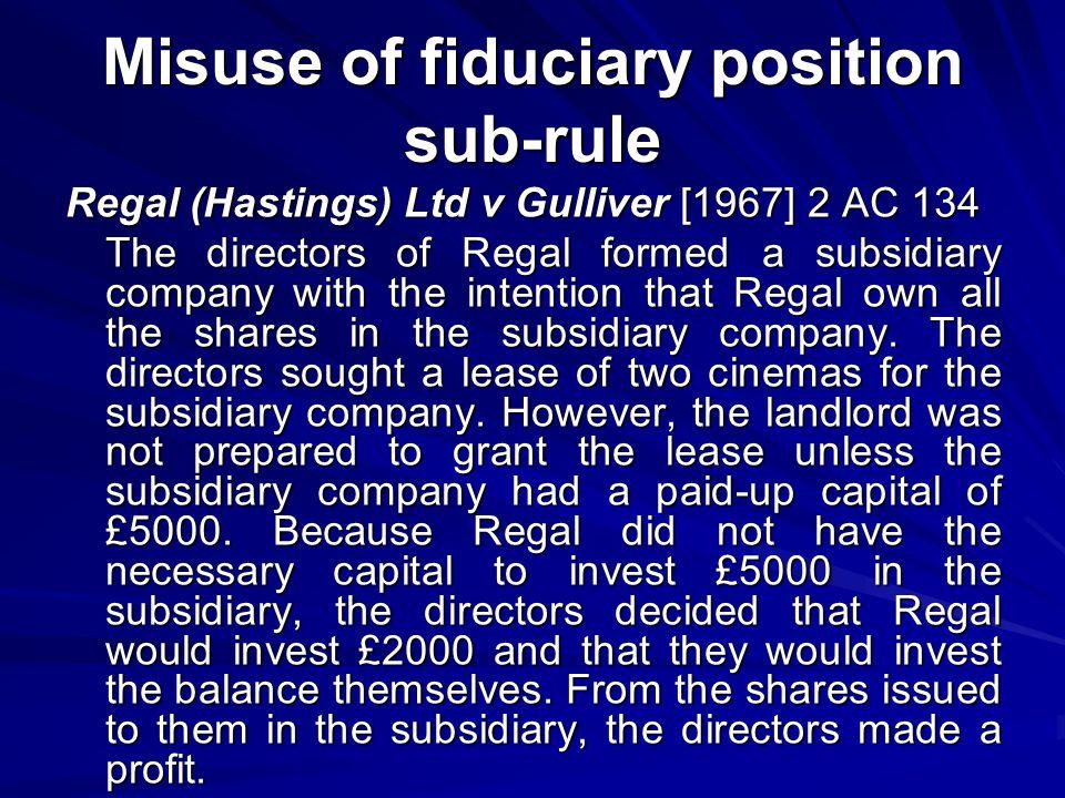 Misuse of fiduciary position sub-rule