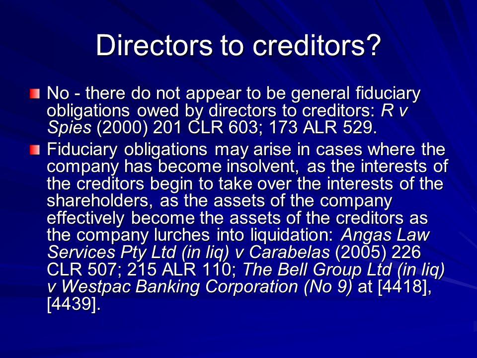 Directors to creditors