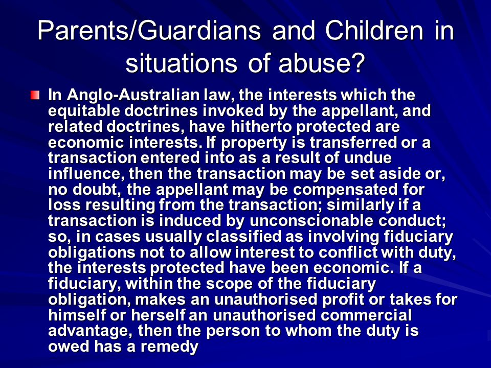 Parents/Guardians and Children in situations of abuse