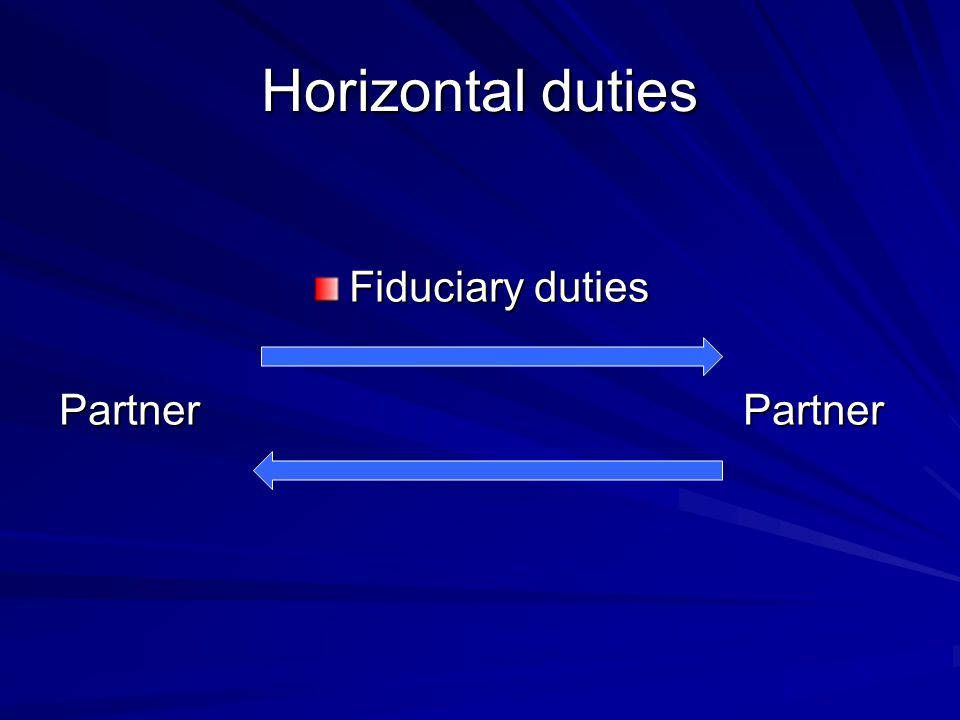 Horizontal duties Fiduciary duties Partner Partner