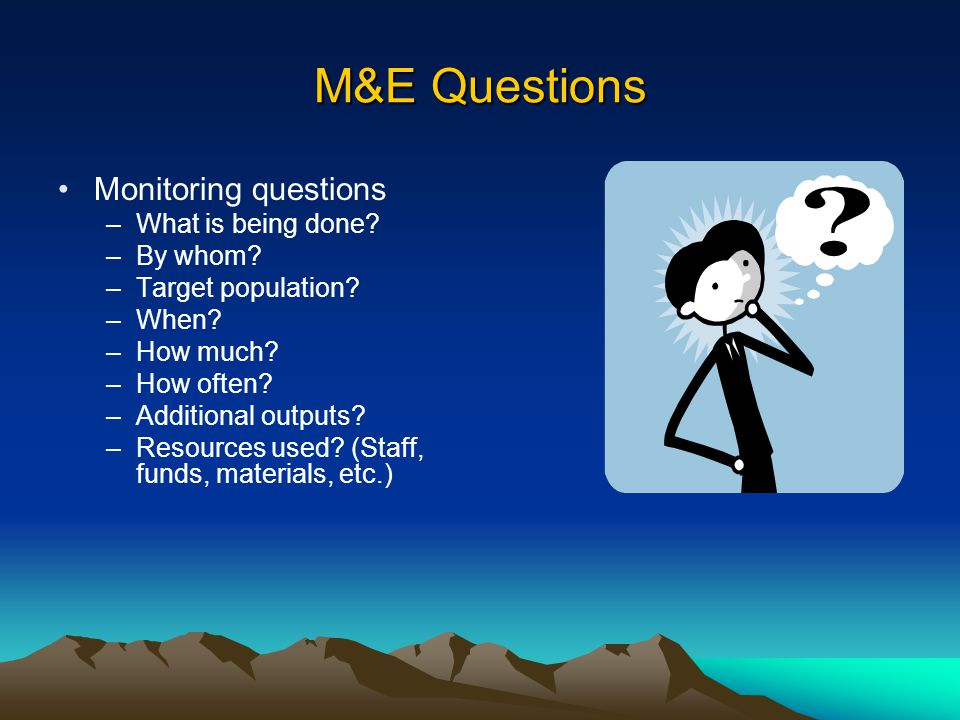 M&E Questions Monitoring questions What is being done By whom