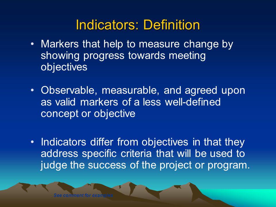 Indicators: Definition