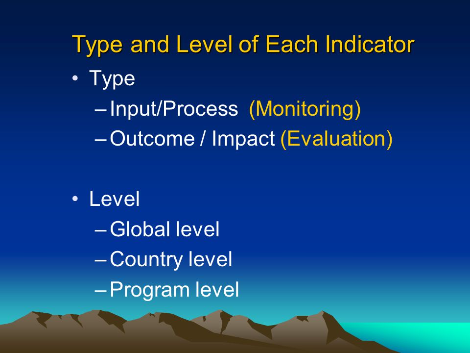 Type and Level of Each Indicator