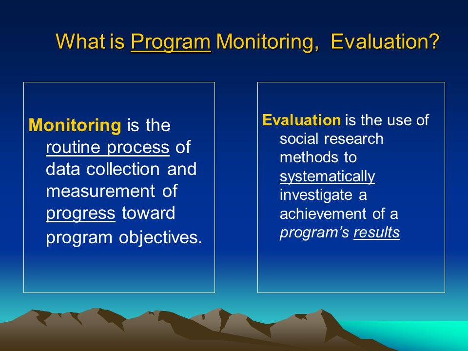 What is Program Monitoring, Evaluation