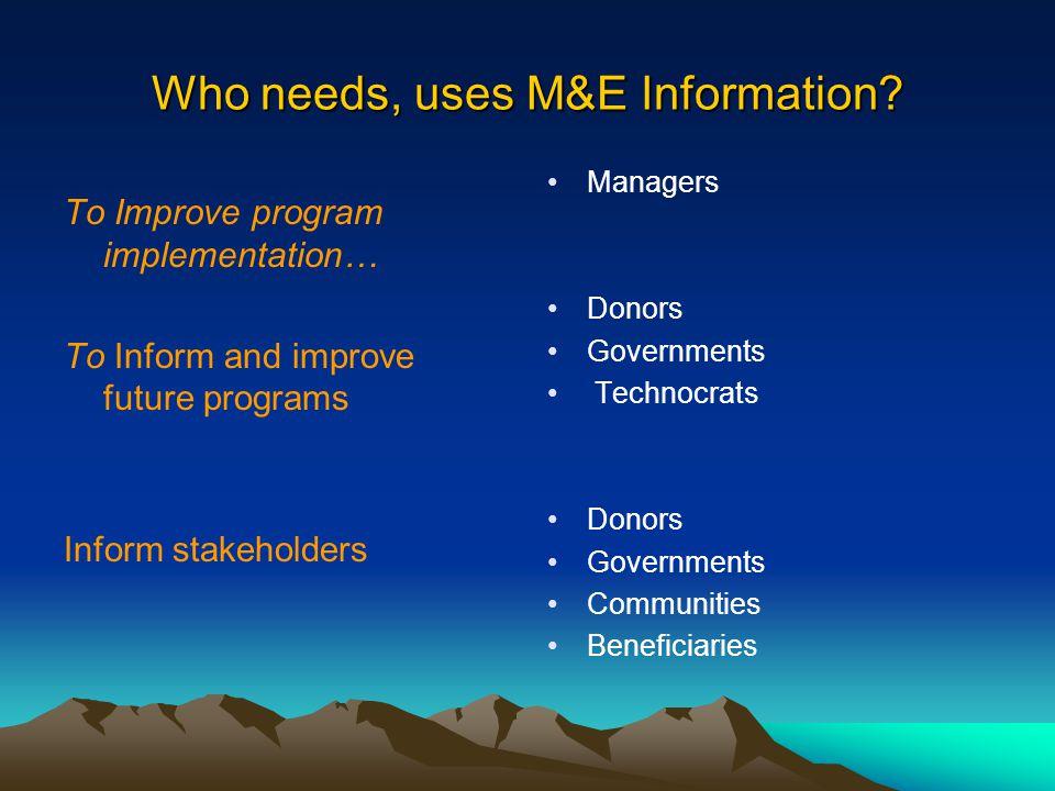 Who needs, uses M&E Information