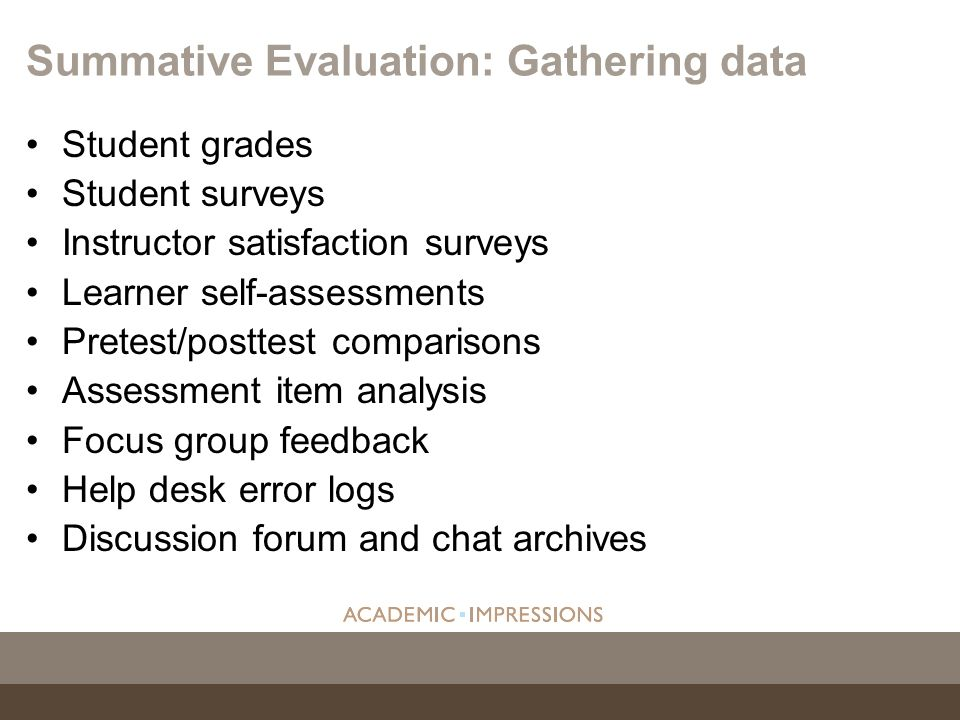 Summative Evaluation: Gathering data
