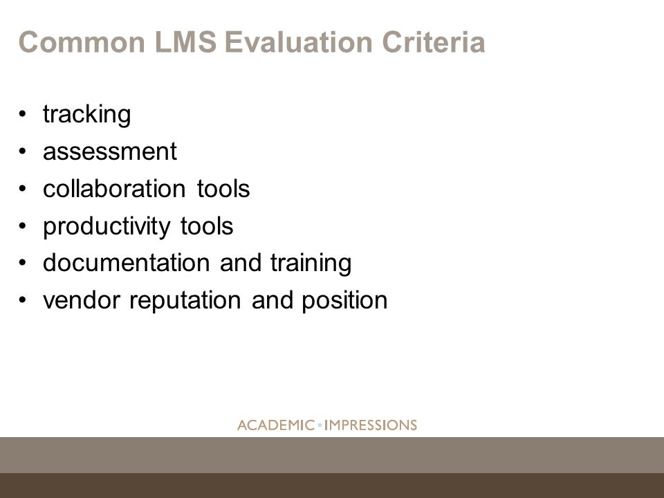 Common LMS Evaluation Criteria