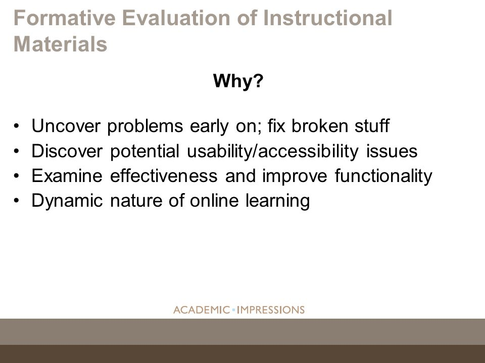 Formative Evaluation of Instructional Materials