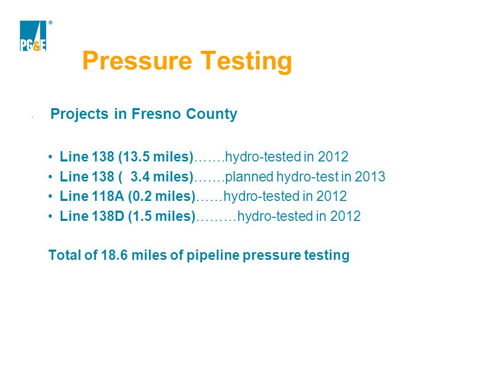 Pressure Testing Projects in Fresno County