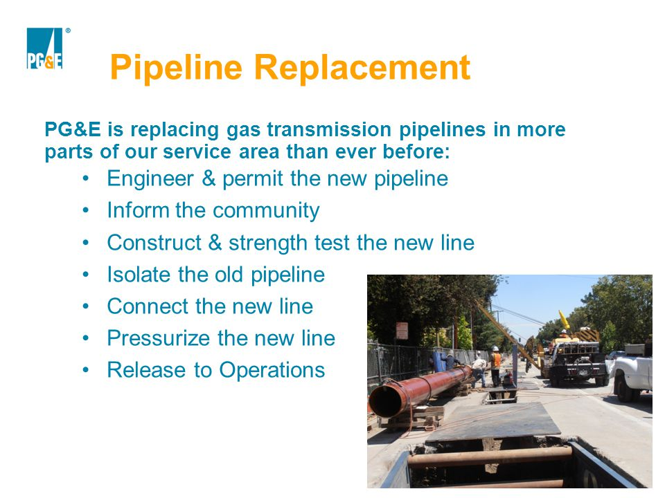 Pipeline Replacement Engineer & permit the new pipeline