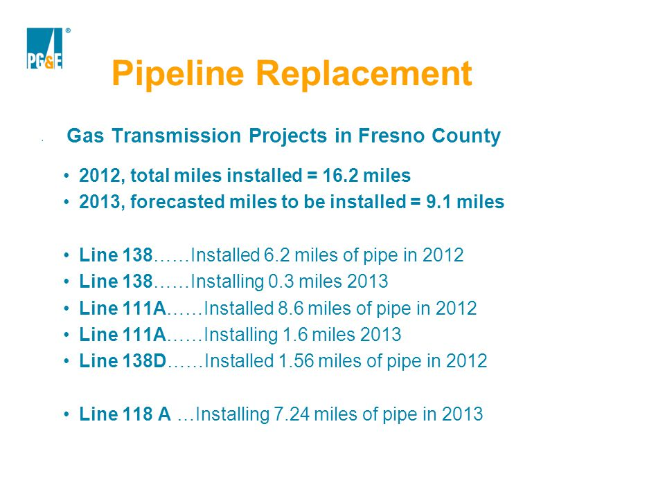Pipeline Replacement Gas Transmission Projects in Fresno County