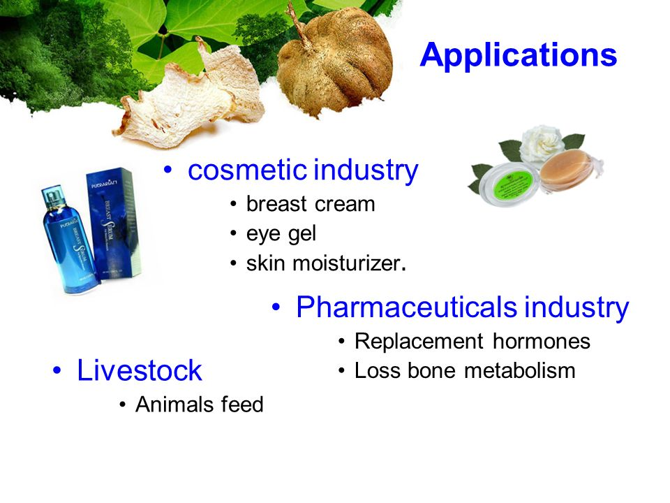 Applications cosmetic industry Pharmaceuticals industry Livestock