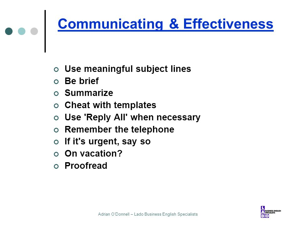 Communicating & Effectiveness