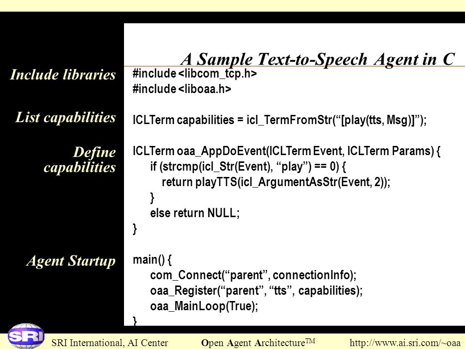 A Sample Text-to-Speech Agent in C