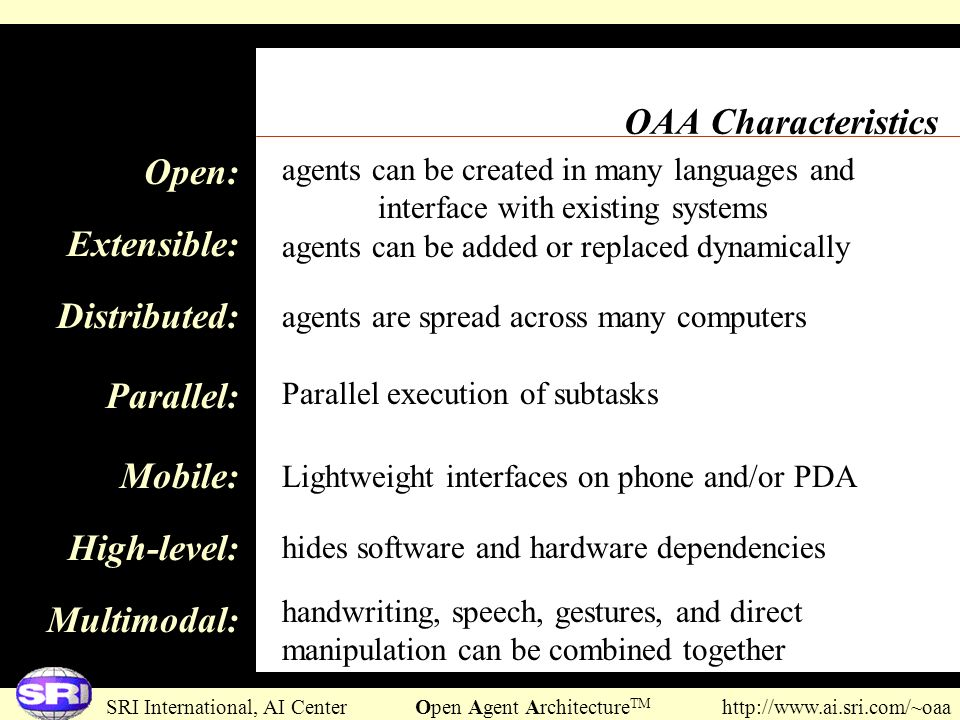 OAA Characteristics Open: Extensible: Distributed: Parallel: Mobile: