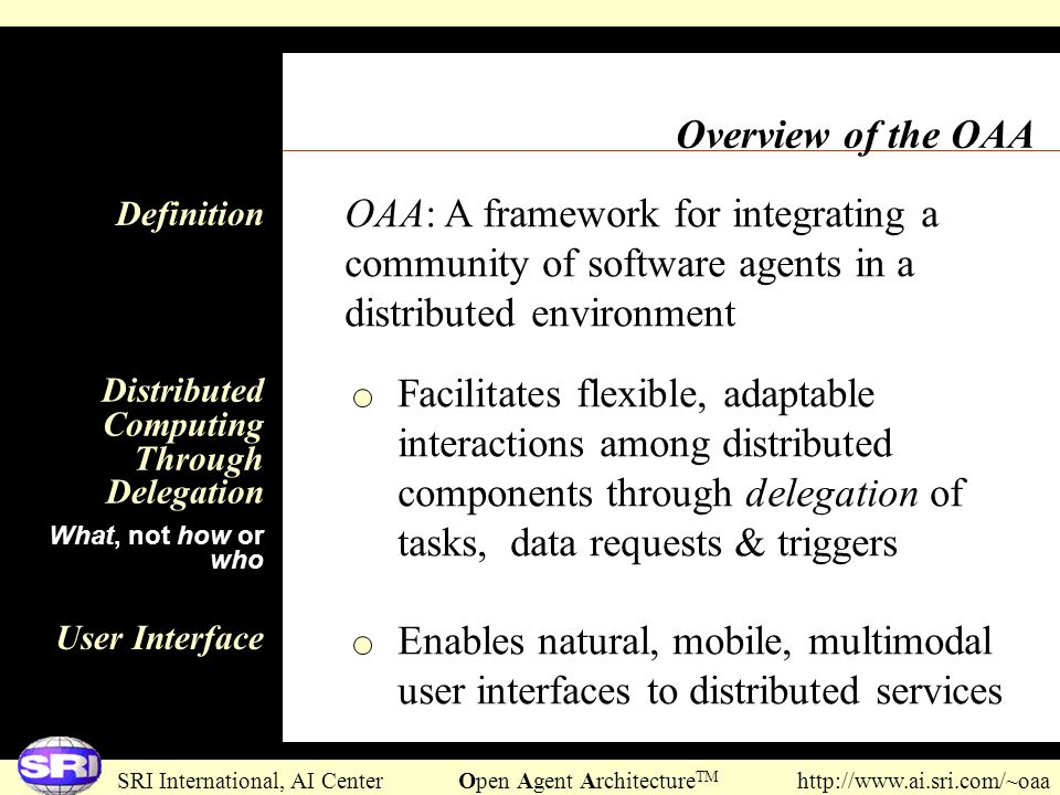 Overview of the OAA OAA: A framework for integrating a community of software agents in a distributed environment.