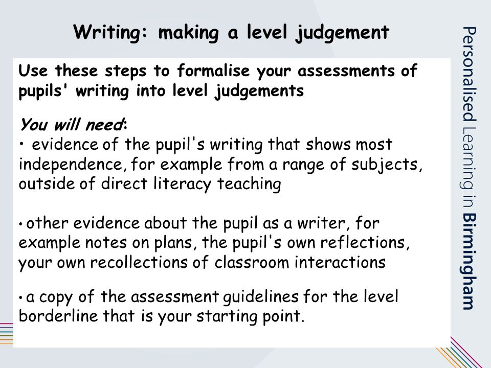Writing: making a level judgement