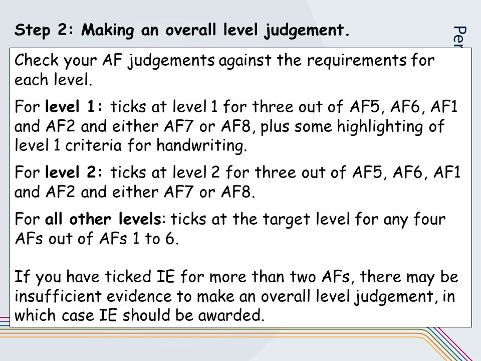 Step 2: Making an overall level judgement.