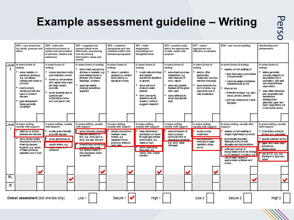 Example assessment guideline – Writing