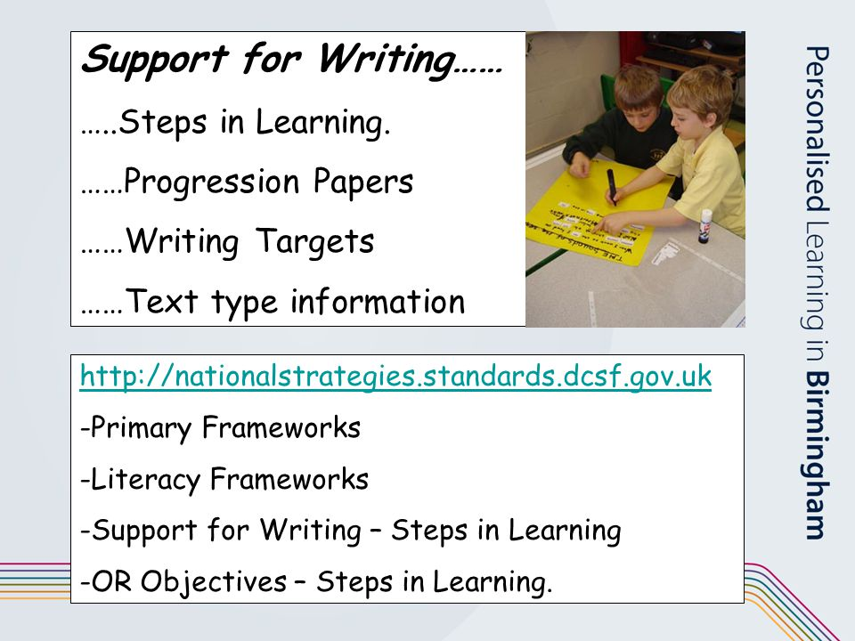 Support for Writing…… …..Steps in Learning. ……Progression Papers