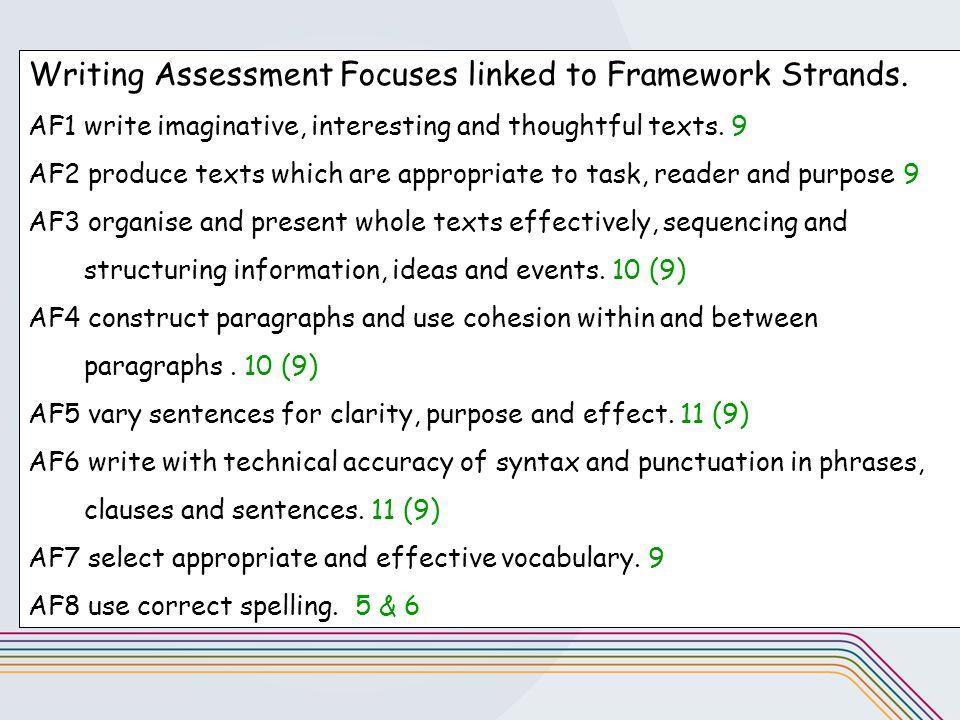 Writing Assessment Focuses linked to Framework Strands.