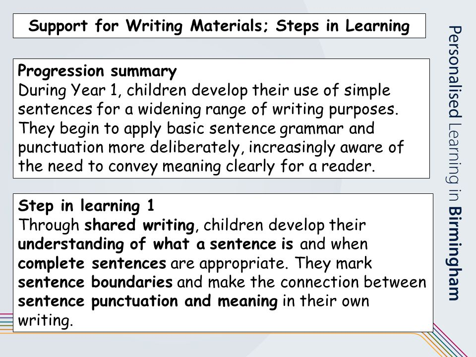 Support for Writing Materials; Steps in Learning