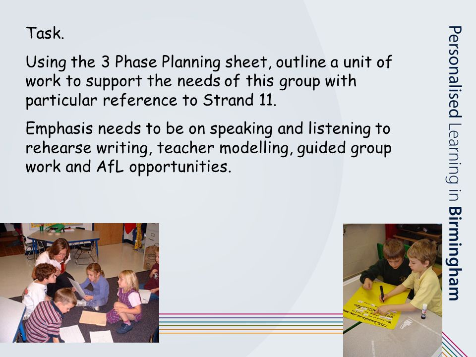 Task. Using the 3 Phase Planning sheet, outline a unit of work to support the needs of this group with particular reference to Strand 11.