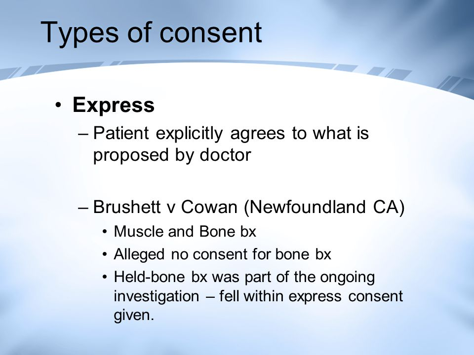 Types of consent Express