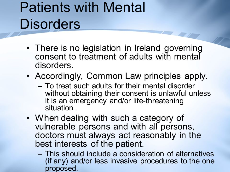 Patients with Mental Disorders