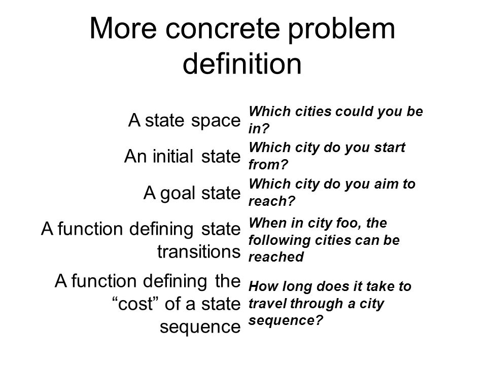More concrete problem definition