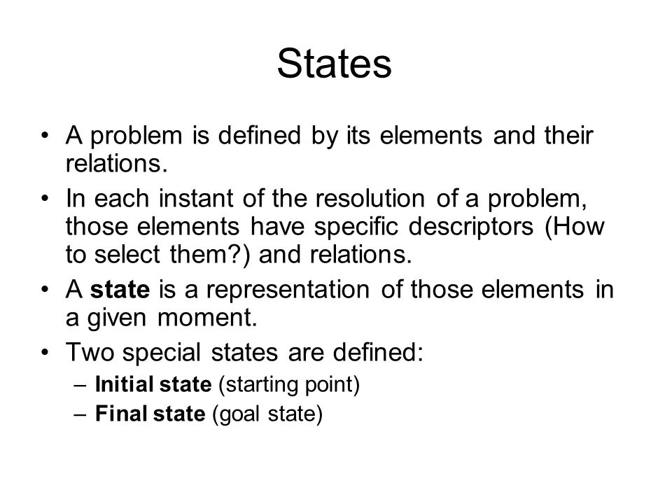 States A problem is defined by its elements and their relations.