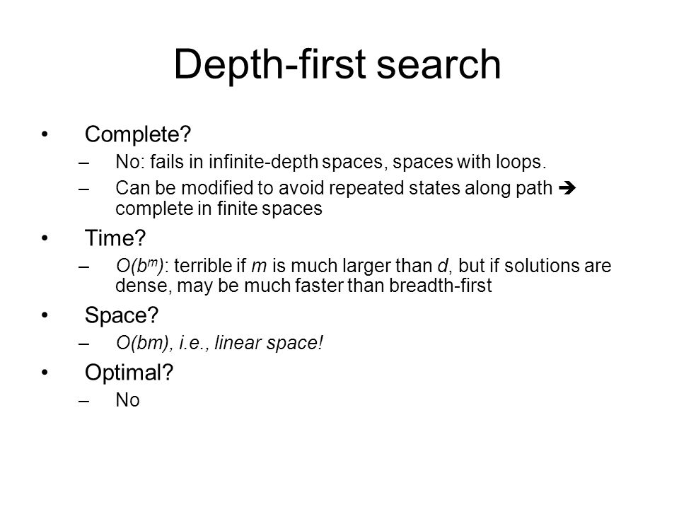 Depth-first search Complete Time Space Optimal