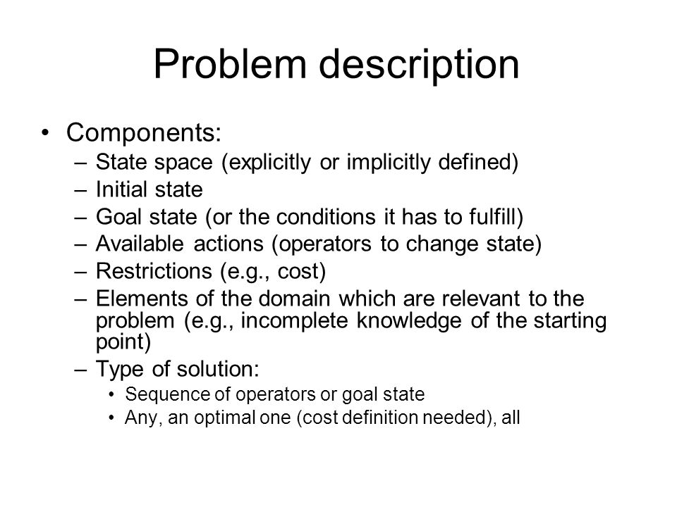 Problem description Components: