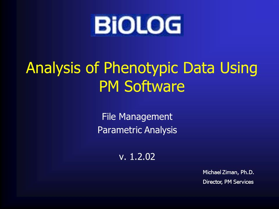 Analysis of Phenotypic Data Using PM Software
