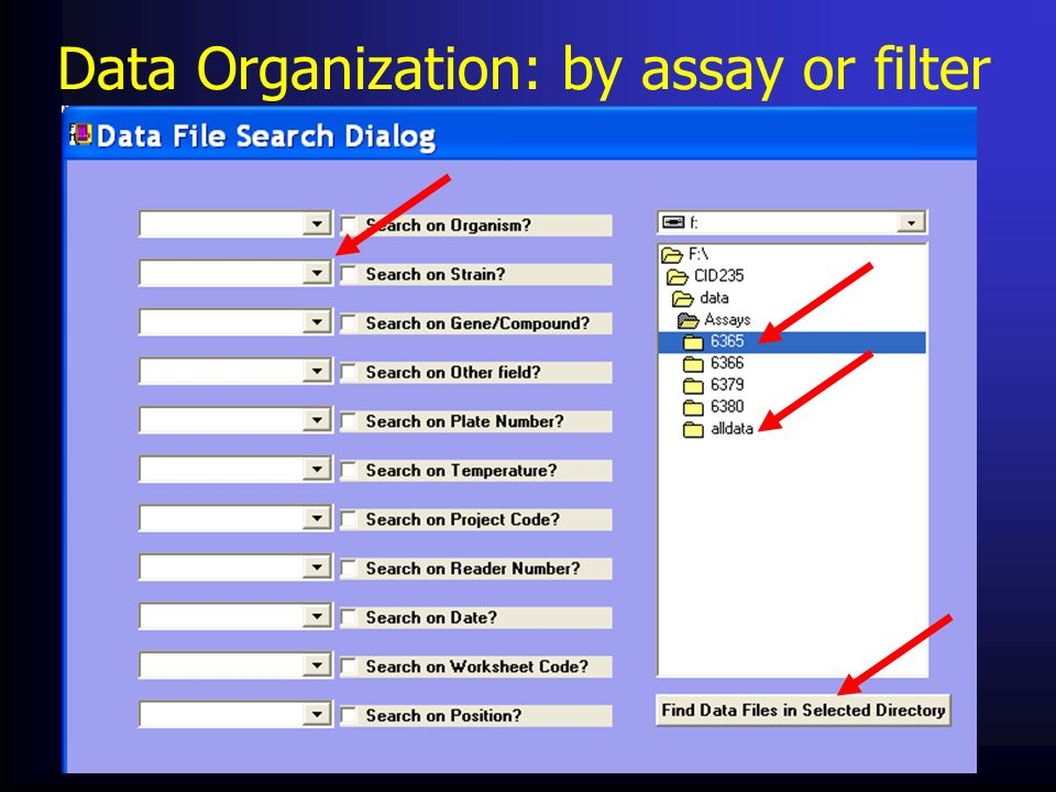 Data Organization: by assay or filter