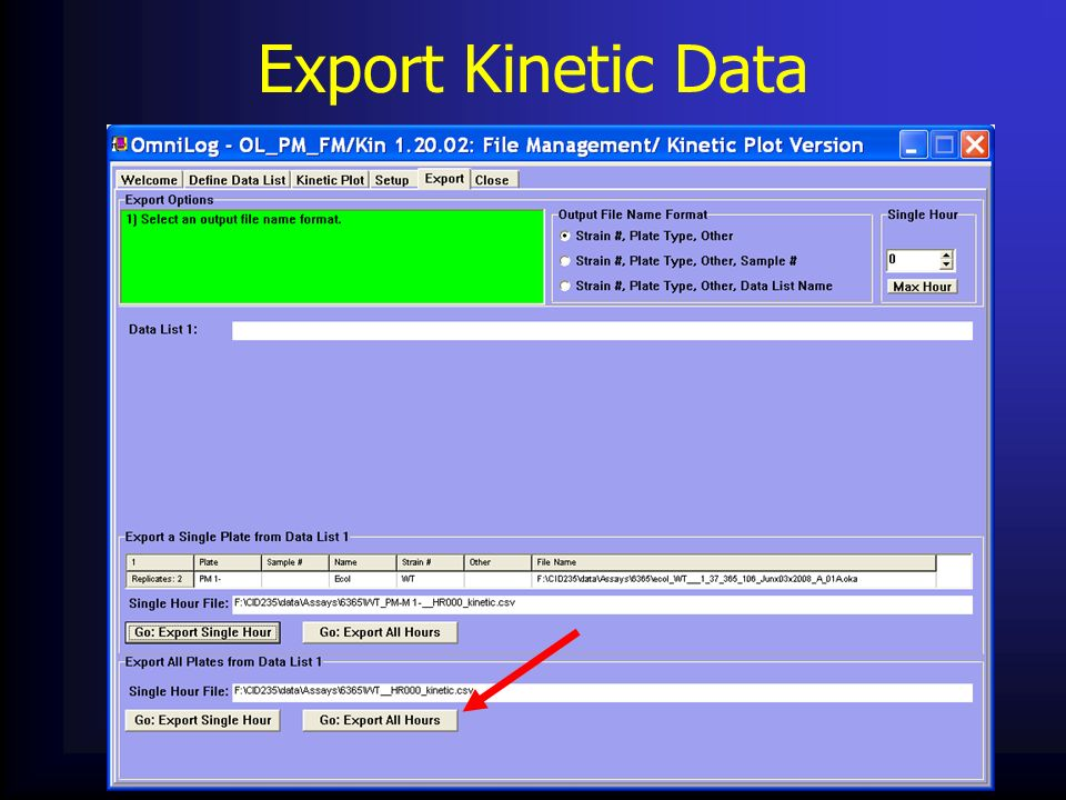 Export Kinetic Data
